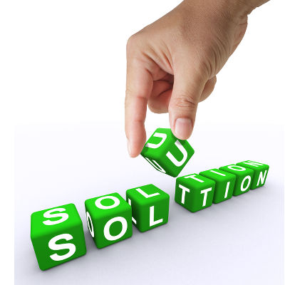 Hand and 3d word Solution, business concept